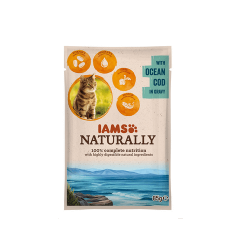 Iams Naturaly-Chat Adulte cabillaud (Gravy) 85gr (1)